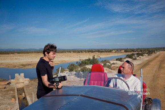 Photographer Oliver Brenneisen and inventor Charly Bosch, photo shooting of LORYC Electric Speedster